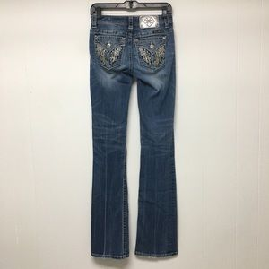 Miss Me Jeans 26 x 36 Standard Boot Angel Wings